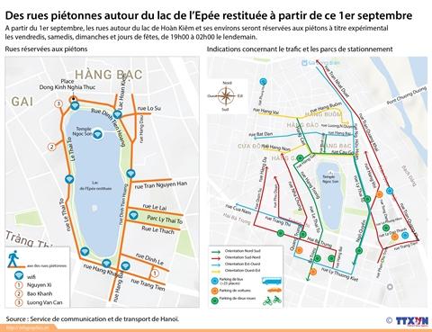 Hanoï : essai de rues piétonnes autour du lac de l'Epée restituée